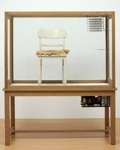Joseph Beuys,Fat Chair, 1964-1985, wood, glass, metal, fabric, paint, fat and thermometer, 183 x 155 x 64 cm (Tate Modern)