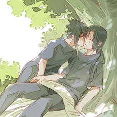 Usagi (Pixiv1723159), NARUTO, Uchiha Itachi, Uchiha Sasuke, Low Ponytail, Kiss On The Cheek