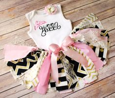 Queen Bee Pink, Gold, Black, and White Fabric Tutu, Bodysuit/Tee, & Headband // Any Age Any Colors // First Birthday // Baby, Toddler, Girl by FlyAwayJo on Etsy https://www.etsy.com/listing/288901289/queen-bee-pink-gold-black-and-white