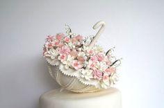 Wedding Cake Topper. Hand made Clay Parasol/Umbrella Cake Topper