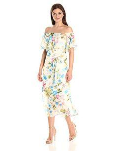 SANDRA DARREN WOMEN'S OFF THE SHOULDER CHIFFON TEA LENGTH DRESS Romantic floral dress with ruffled off-the-shoulder neckline, waist tie, and knee-length hem Lined