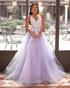 Lavender V-neck Long Formal Prom Evening Dress with Appliques, #vestido Tulle Prom Dress, Lace Dress, Prom Dresses, Gold Sequin Gown, Different Wedding Dresses, A Line Gown, Bridal Gowns, Ball Gowns, Evening Dresses