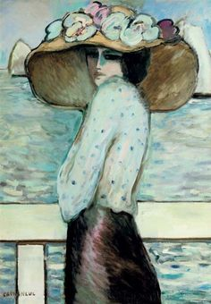 Jean Pierre Cassigneul was born in Paris in 1935. Cassigneul is a painter, lithographer and illustrator. He created beautiful portraits of young women with big very fashionable hats.
