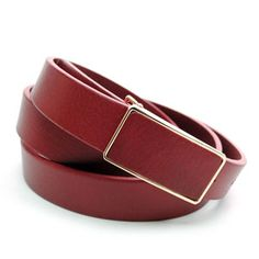 (JPB033-RED) Casual Leather Belt from W26 to W36