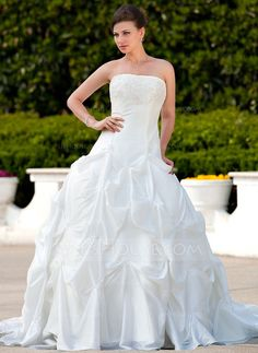 Wedding Dresses - $227.99 - Ball-Gown Strapless Chapel Train Taffeta Wedding Dress With Ruffle Lace Beading (002000496) http://jjshouse.com/Ball-Gown-Strapless-Chapel-Train-Taffeta-Wedding-Dress-With-Ruffle-Lace-Beading-002000496-g496