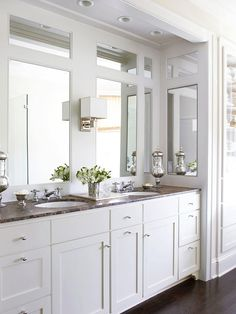 Bathroom Mirror Ideas - love this built-in set up - optional idea? light grey cab's with glass pulls/nobs. White marbled quartz counter white sink, floor options white lg square on pint with corner inlay, mosaic flooring at tub same as inside shower, Bathroom Renos, Bathroom Renovations, Master Bathroom, Bathroom Mirrors, Bathroom Makeovers, Framed Mirrors, Ikea Bathroom, Paris Bathroom, Wall Mirror