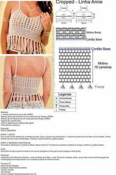 Most Popular Crochet Bikini Top Pattern Boho Ideas Crochet Halter Tops, Top Crop Tejido En Crochet, Débardeurs Au Crochet, Beau Crochet, Crochet Bikini Top, Crochet Woman, Crochet Blouse, Crochet Diagram, Crochet Stitch