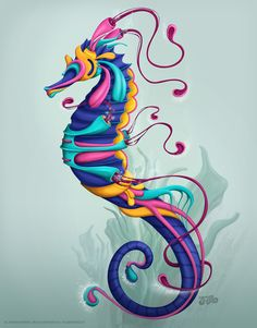 Sea Horse by Sam Werczler - Customic Seahorse Tattoo, Seahorse Art, Seahorses, Art Pastel, Illustration Photo, Sea Dragon, Fish Art, Beach Art, Art Plastique