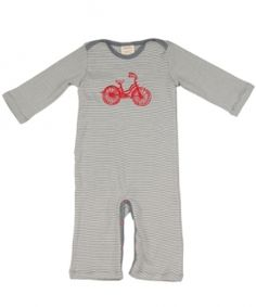Bicycle romper  from Adooka Organics, 100% certified organic cotton, made in USA of Canadian-knit fabric, $34