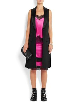 ded8d01affd38 Givenchy - Skirt In Black Lace-trimmed Bright-pink Silk-satin