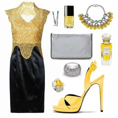 Black Contrast Yellow Lace Top V-neck Cut Out Back Dress