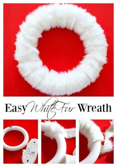 super easy white wreath made at a fraction of the cost compared to retail stores