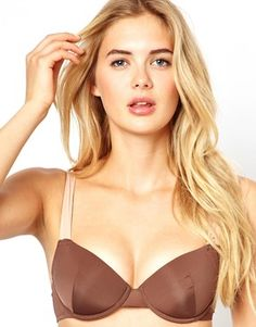Vero Moda Bianca Contrast Push Up Bra in Brown Latest Outfits, Bra Lingerie, Push Up, Fashion Online, Latest Trends, Cool Style, Contrast, Asos, Nude