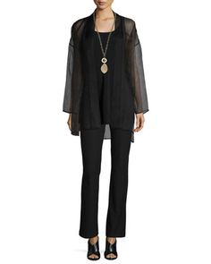 Silk+Organza+Long+Jacket,+Long+Silk+Jersey+Tunic+&+Washable-Crepe+Boot-Cut+Pants++by+Eileen+Fisher+at+Neiman+Marcus.
