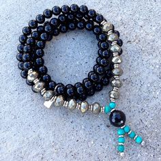 """Onyx, Pyrite and Turquoise """"Confidence"""" 108 bead wrap mala – Lovepray jewelry"""