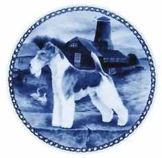 "Fox Terrier - Wire Lekven Design Dog Plate 19.5 cm / 7.61"" Plate #7270"