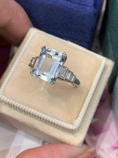 Emerald Cut Eternity Band, Emerald Cut Aquamarine Ring, Emerald Cut Rings, Blue Rings, Diamond Rings, Diamond Engagement Rings, Diamond Necklaces, James Jewelry, Rings