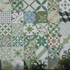 Cement Tile Shop - Encaustic Cement Tile Patchwork Green