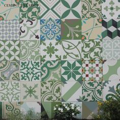 Cement Tile Shop - Encaustic Cement Tile Patchwork Green