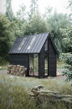 ideas for house black exterior metal roof Tiny House Cabin, Tiny House Design, Scandinavian House, Scandinavian Architecture, Cabana, Casas Containers, Cabins And Cottages, Tiny Cabins, Log Cabins
