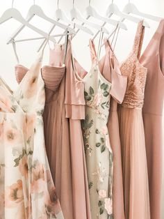 Jenny Yoo Bridesmaids, Mismatched Long Luxe Chiffon, Beaded, Embroidered Tulle and Satin Back Crepe, all shown in shades of pink! These unique evening dresses are perfect for a fall, summer, spring or even a winter wedding.