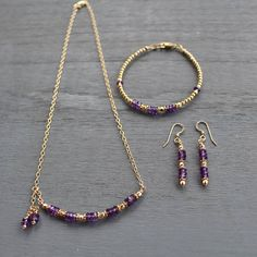 Purple Amethyst and Gold Beaded Necklace Amethyst Gemstone Necklace Boho Chic Amethyst Necklace Dainty amethyst Layering Necklace Bead Jewellery, Beaded Jewelry, Handmade Jewelry, Jewelry Necklaces, Craft Jewelry, Boho Necklace, Beaded Earrings, Beaded Bracelets, Amethyst Necklace