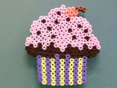 Perler bead pink cupcake by Purplepandacharms.deviantart.com on @deviantART