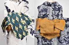 象牙色と藍のコントラスト美しく織りだされた三つ葉藤文様をアレンジしたようなジオメトリックな装飾パターンが遊び心をさそう化繊の半幅帯です。