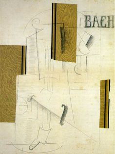 """artist-braque: """"Still life BACH via Georges Braque Medium: charcoal, collage, gouache, paper"""" Pablo Picasso, Picasso And Braque, Alberto Giacometti, Georges Seurat, Georges Braque, Henri Matisse, Synthetic Cubism, Tate Gallery, European Paintings"""
