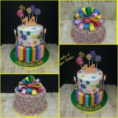skittle colored theme cake