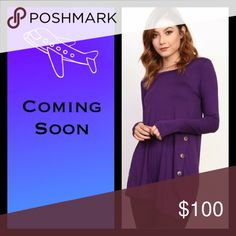 🛍Coming Soon🛍 Plum Side Button Trim Tunic/Top Plum Side Button Trim Top. Material: 95% Rayon and 5% Spandex. Body Length 27 inches. Available in Small (2-4), Medium (6-8), and Large (10-12). Will be $36. Tops Tunics