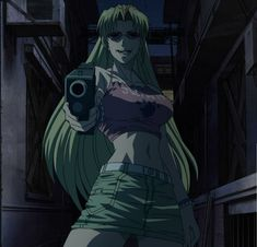 Lovely Eda!! -- Such an honor to be held at gunpoint by the true Ruler Of Roanapur!! (Watch the Roberta's Blood Trail OVA and you'll see why!)