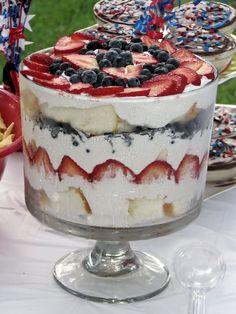 Strawberry and Blueberry Trifle 2 Cartons of fresh strawberries 1 Carton fresh blueberries 1 loaf angel food cake 1 tub of frozen whipped topping,completely thawed Trifle bowl or tall . Angel Food Cake Trifle, Köstliche Desserts, Delicious Desserts, Dessert Recipes, Yummy Food, Dessert Bread, Chef Recipes, Plated Desserts, Yummy Yummy