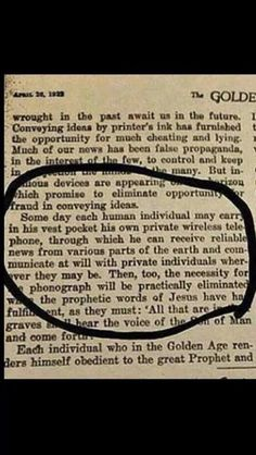 Chilling view of the future from April 1922. Jehovah's Witnesses now use smart phones and electronic tablets in their door-to-door ministry to play videos.