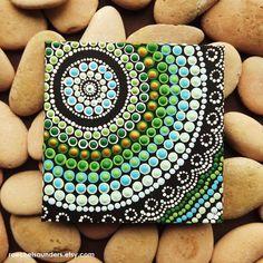 Aboriginal Art Dot Painting, small Original acrylic painting on canvas board, green decor, Coastal Art, 10cm x 10cm