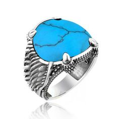 Beelogold - 925K Sterling Silver Eagle Claws Turquoise Ring for Men