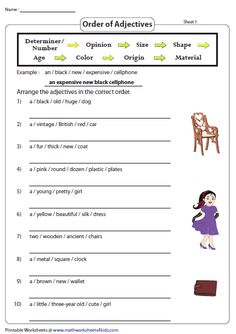 Adjective Worksheets - <img> Order the Adjectives Order Of Adjectives Worksheet, Adjectives Activities, English Adjectives, Grammar Activities, English Grammar Rules, Teaching English Grammar, English Worksheets For Kids, Grammar And Punctuation, English Study