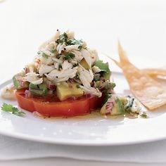 Chile-Lime Crab Salad with Tomato and Avocado.The mix of fresh crab, avocado and juicy heirloom tomatoes here is a classic combination. But Sue Zemanick makes it seem new by tossing the salad with a vibrant, spicy dressing spiked with jalapeno. Shellfish Recipes, Crab Recipes, Avocado Recipes, Wine Recipes, Salad Recipes, Cooking Recipes, Healthy Recipes, Avocado Food, Avocado Salad