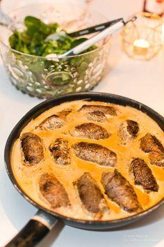 LCHF - Low Carb, Bräserade lövbiffsrullader med mozzarella och röd pesto