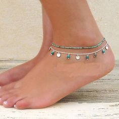 Mujer Brazalete tobillo/Pulseras y Brazaletes Turquesa Legierung Diseño Único Moda Joyas De las mujeres JoyasFiesta Diario Casual Regalos 2017 - Anklet Jewelry, Seed Bead Jewelry, Cute Jewelry, Anklets, Beaded Jewelry, Beach Bracelets, Ankle Bracelets, Summer Accessories, Jewelry Accessories