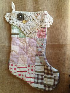 Vintage Quilt Christmas Stocking by IttyBittyCottage on Etsy, $18.00