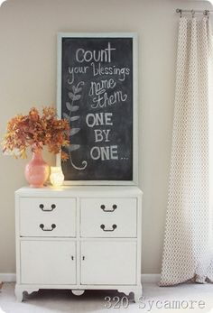 fall chalkboard - count your blessings - love the board - love the song - love the thought
