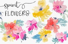 Spirit Flowers - Watercolor Clip Art by Angie Makes on @creativemarket