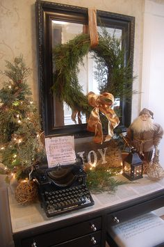 Vintage Christmas entry table, cool use of old typewriter Christmas Mantels, Noel Christmas, Merry Little Christmas, Primitive Christmas, Country Christmas, Winter Christmas, Christmas Projects, Vintage Christmas, Christmas Vignette