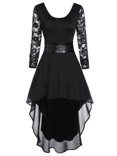 Lace Sleeve High Low Midi Semi Formal Dress - - Source by duslocke Semi Formal Dresses Modest, Formal Dresses For Teens, Modest Dresses, Plus Size Dresses, Casual Dresses, Chiffon Dresses, Fall Dresses, Long Dresses, Prom Dresses