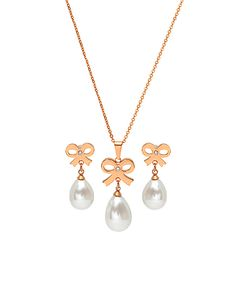 Rose Gold & Pearl Bow Pendant Necklace & Drop Earrings   zulily