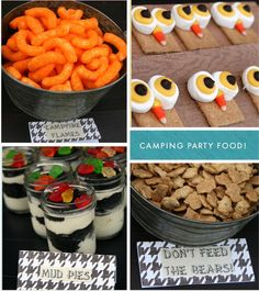 """Camping party food. - """"Campfire flames""""/ """"Worms & Dirt"""" - """"Don't Feed the Bears"""" Teddy Grahams"""