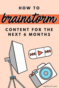 How to Brainstorm Content Ideas - Sophie VL // Online Business Coach Marketing Affiliate Marketing, Marketing Blog, Content Marketing Strategy, Facebook Marketing, Online Marketing, Social Media Marketing, Business Marketing, Marketing Poster, Business Launch
