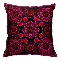 "Hmong Hill Tribe Embroiderd Ethic Cushion Pillows Covers 16"" x 16""  - Pink Funny Flower $16"