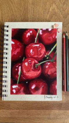 Art Drawings Sketches Simple, Pencil Art Drawings, Realistic Drawings, Colorful Drawings, Colored Pencil Artwork, Color Pencil Art, Cherry Drawing, Marker Art, Art Sketchbook